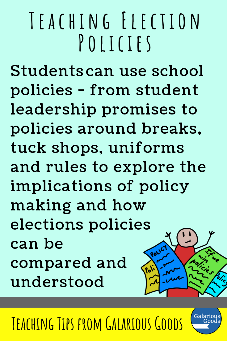 What are election policies? (and how can we teach students about them?) A government and civics themed blog post exploring election policies, how they're made and how we can read them. A Galarious Goods blog post.