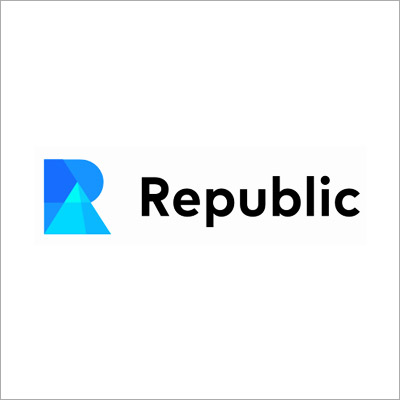 REPUBLIC   Fin Tech   Republic gives customers access to a new and vast pool of capital. Raise funds from anyone: communities, customers, partners and millions of retail investors around the world.