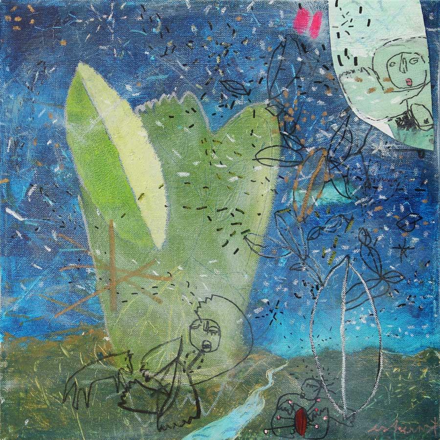 somebody said hi in outer space (2016)<br>Acryl, Marker, Ölkreiden auf Leinwand<br>100 x 100 cm