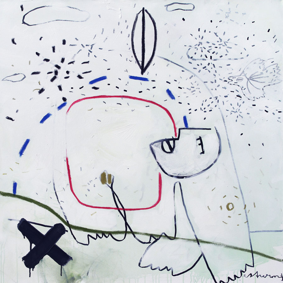 leaf - cross - dancer - sky, 2017<br>Acryl, Marker, Ölkreiden auf Leinwand<br>100 x 100 cm