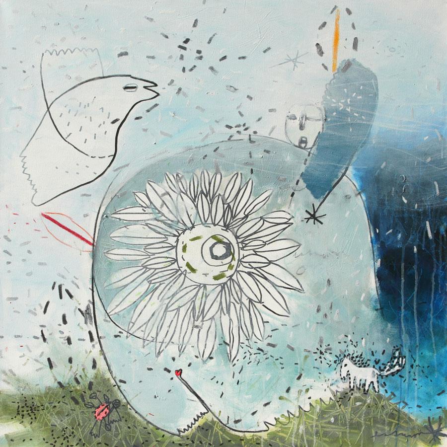 magierin (2016)<br>Acryl, Marker, Ölkreiden auf Leinwand<br>100 x 100 cm