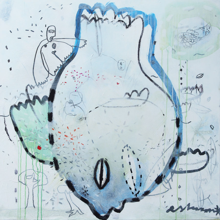touching ground (2017)<br>Acryl, Marker, Ölkreiden auf Leinwand<br>100 x 100 cm