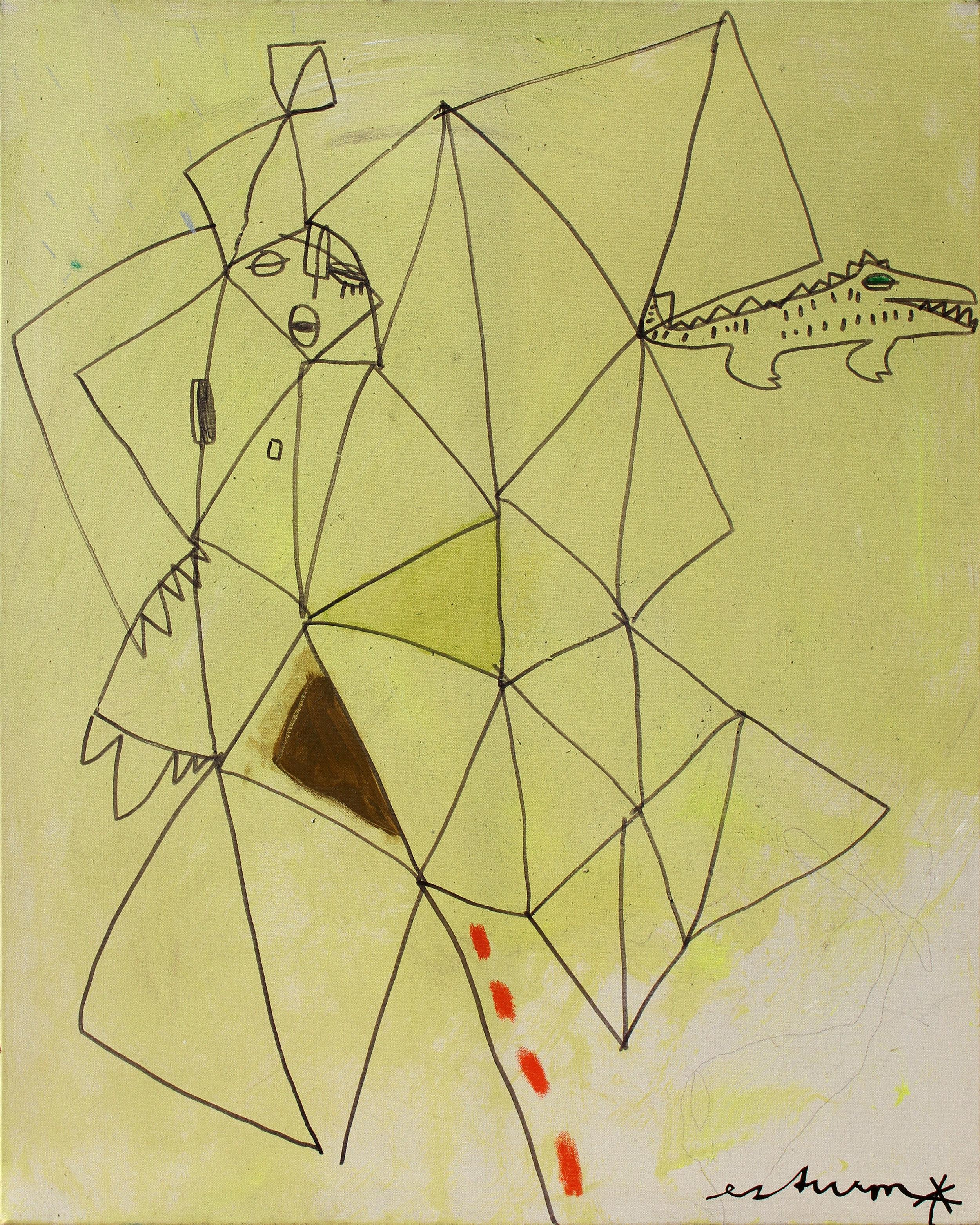 african pattern (2005) Acryl, Marker, Ölkreiden auf Leinwand 80 x 100 cm