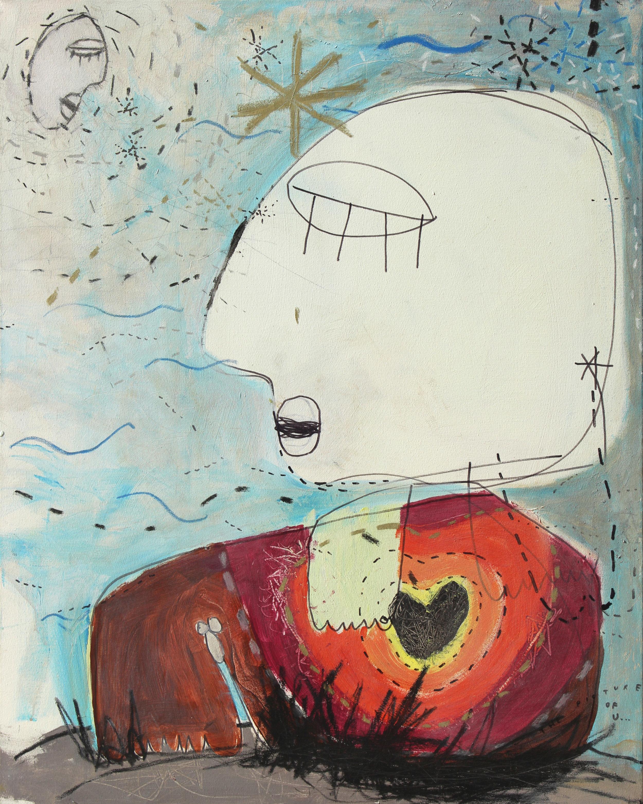 picture of u (2005) Acryl, Marker, Ölkreiden auf Leinwand 80 x 100 cm