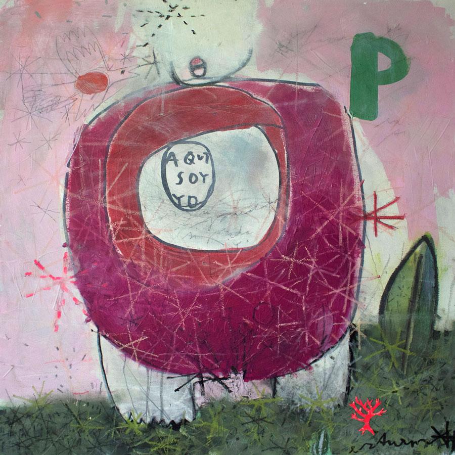aqui soy yo (2016)<br>Acryl, Marker, Ölkreiden auf Leinwand<br>80 x 80 cm