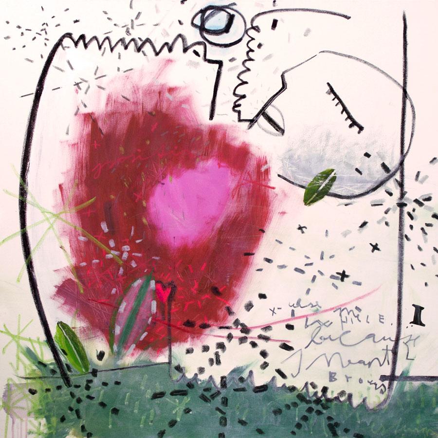 my very own love (2016)<br>Acryl, Marker, Ölkreiden auf Leinwand<br>100 x 100 cm