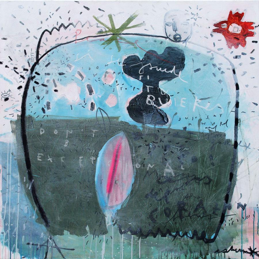big woman blue green (2016)<br>Acryl, Marker, Ölkreiden auf Leinwand<br>100 x 100 cm