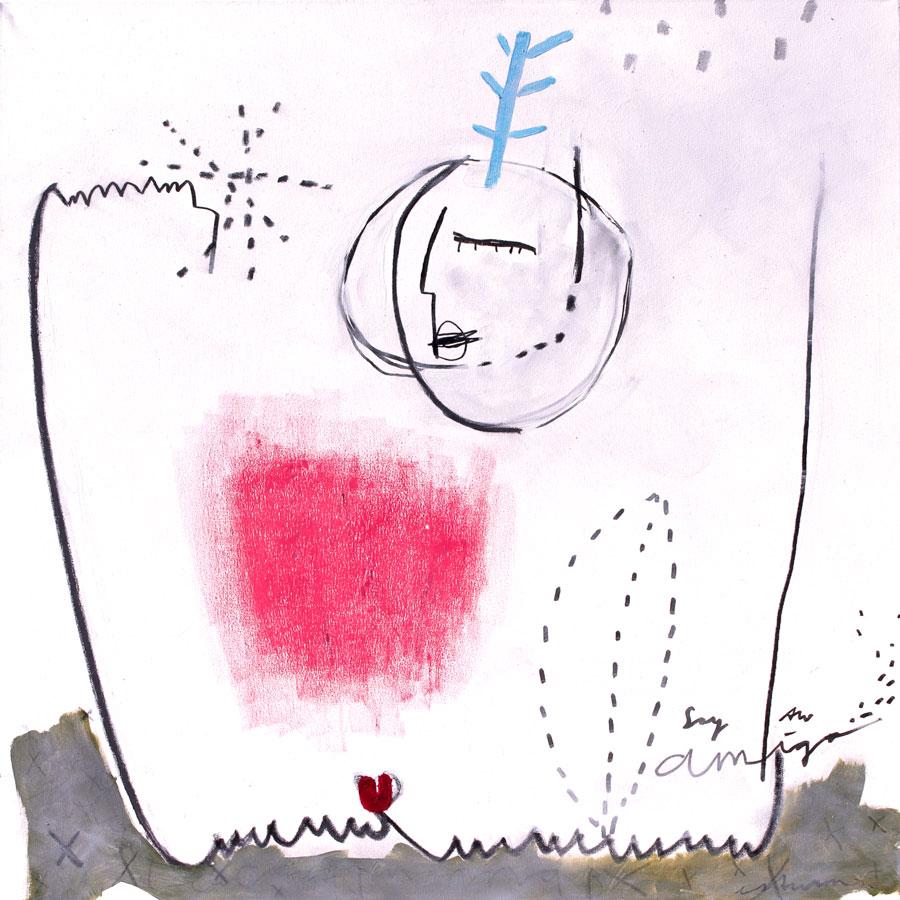 thanks for inspiration (2016)<br>Acryl, Marker, Ölkreiden auf Leinwand<br>100 x 100 cm