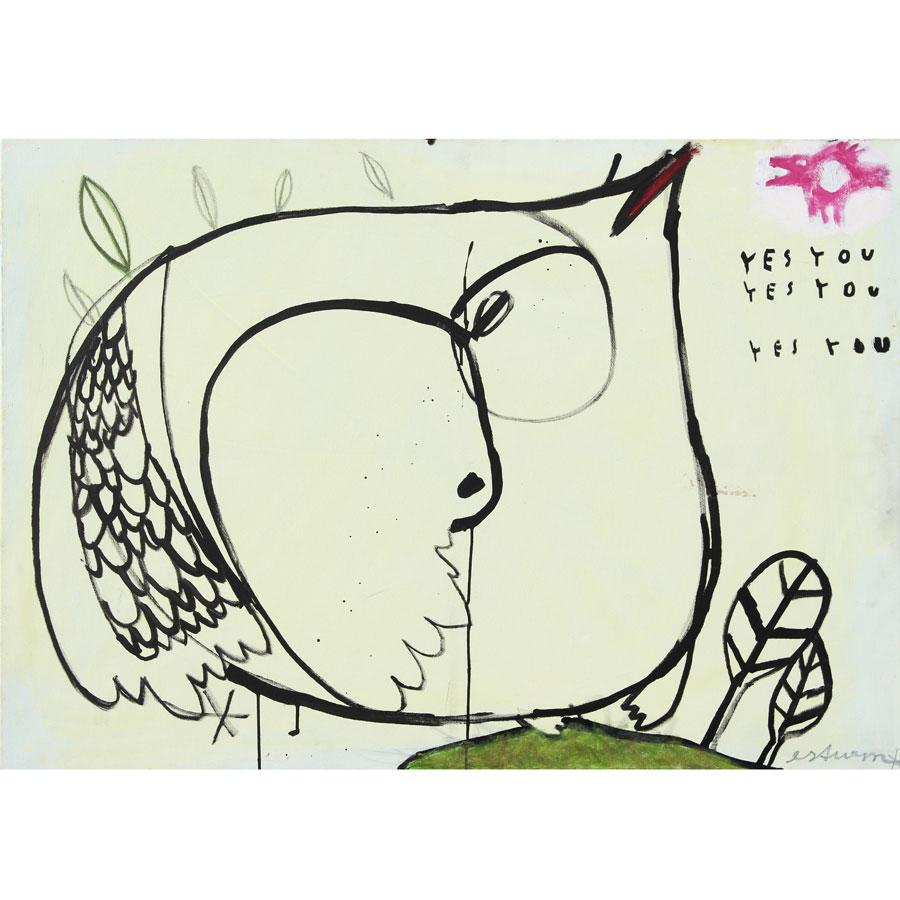 yes you (2016)<br>Acryl, Marker, Ölkreiden auf Leinwand<br>100 x 80 cm