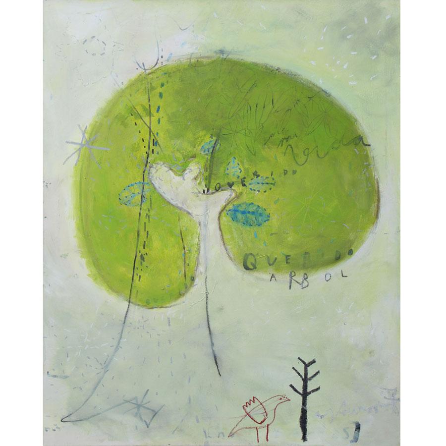 tree dream: arbol de mi vida (2016)<br>Acryl, Marker, Ölkreiden auf Leinwand<br>80 x 100 cm