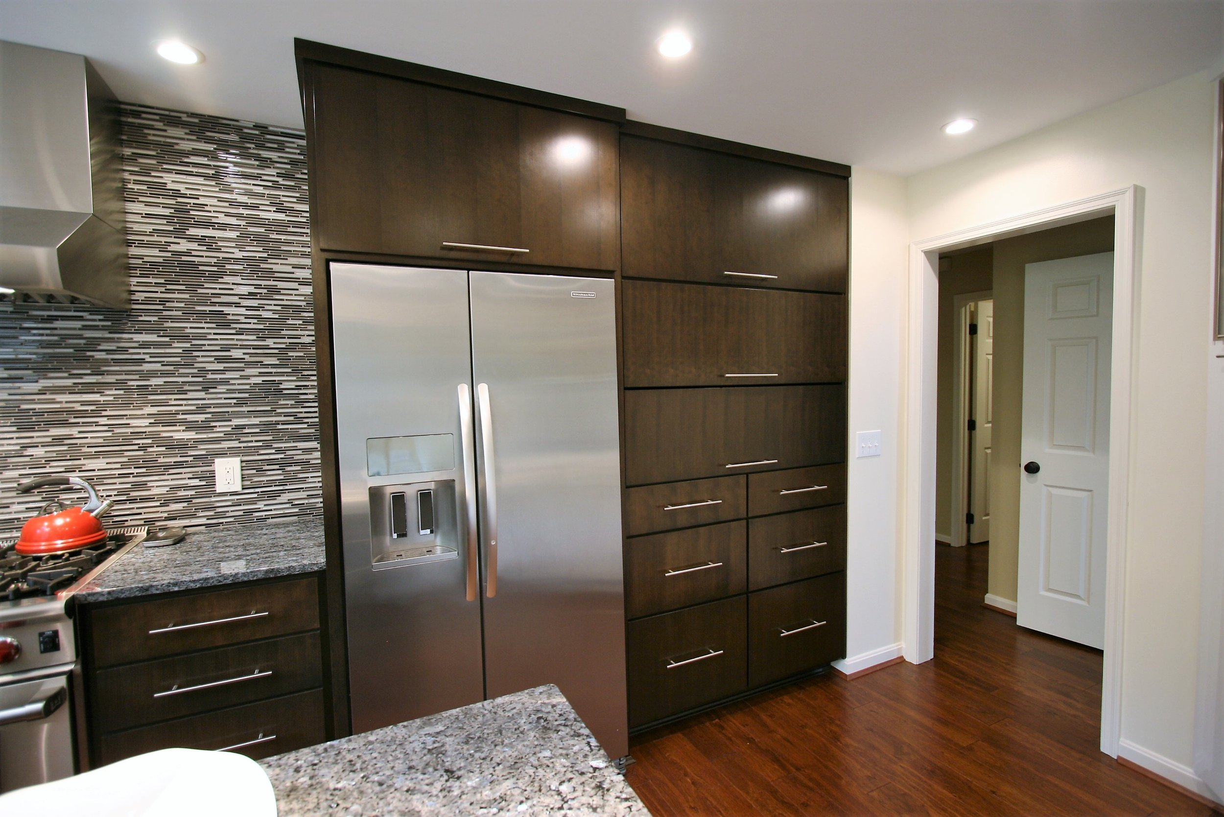 kitchen pantry and refrigerator