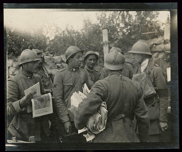 Helen Johns Kirtland with Italian soldiers near Piave River, Italy