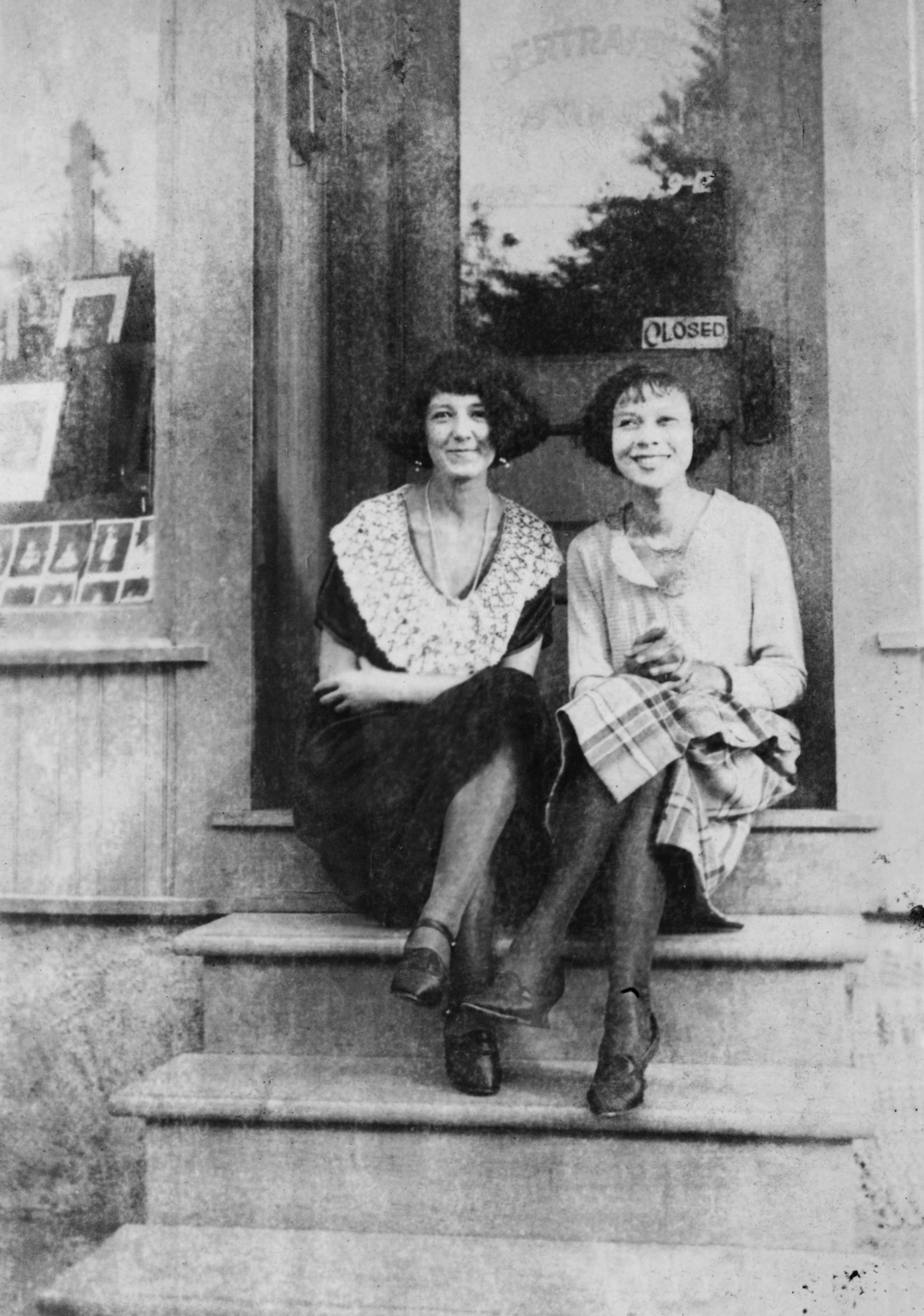 Jeannette Warburg (left) and Daisy Fuller on the steps of Florestine's studio, mid-1920s
