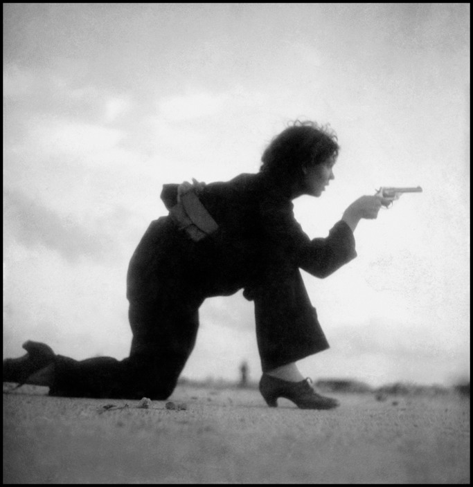 Republican militiawoman training on the beach, outside Barcelona, August 1936