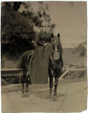 Marian Hooper Adams on horseback at Beverly Farms. Tintype by unidentified photographer, October 1869.