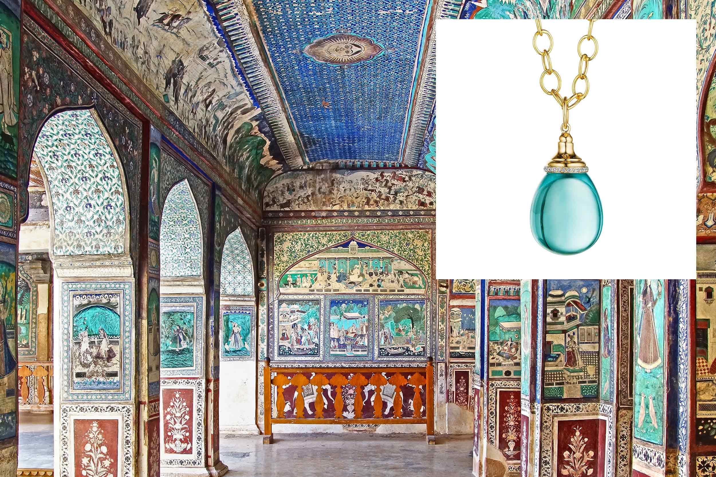 18kyg blue topaz mogul drop necklace with diamonds