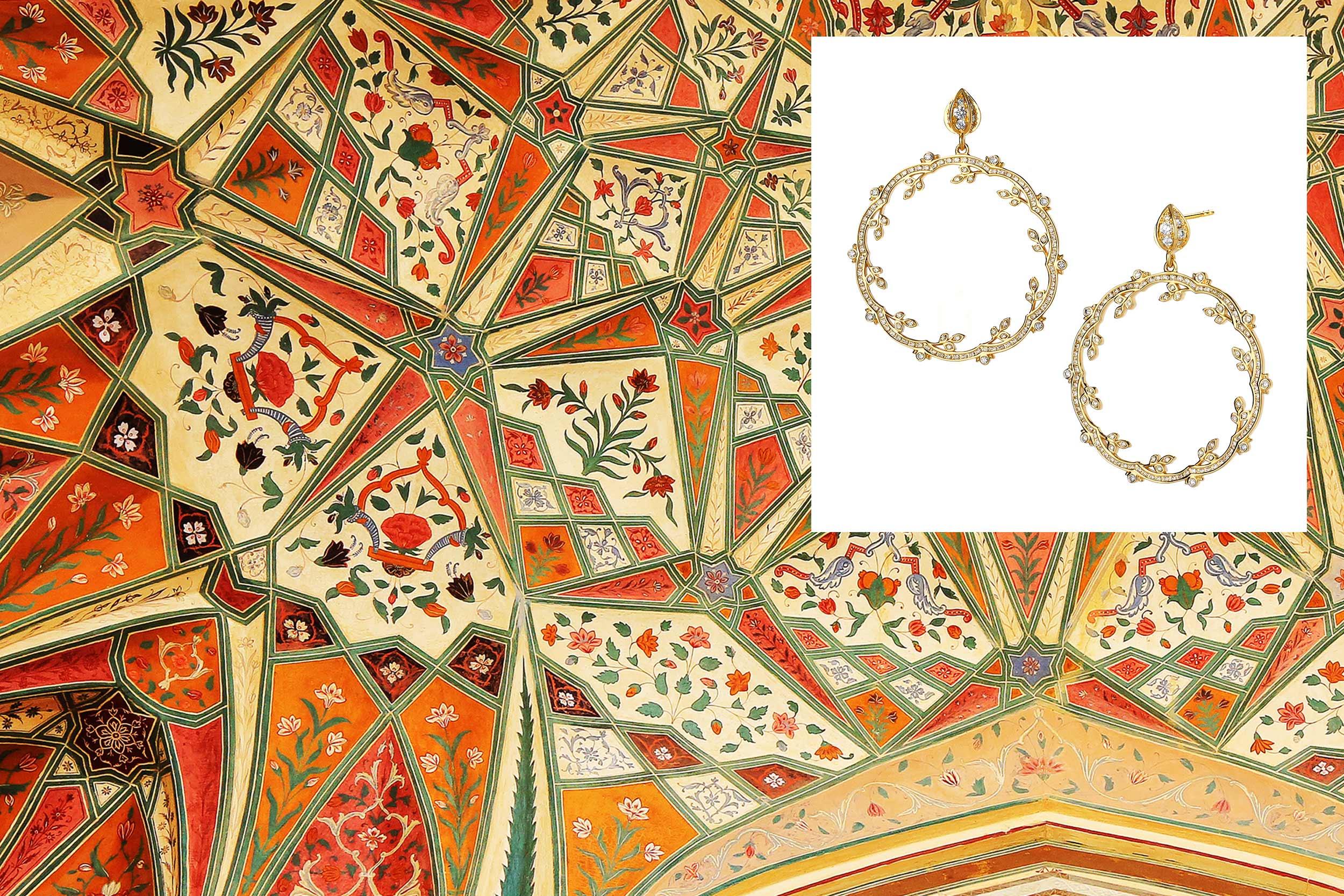 18kyg mogul twine earrings with champagne diamonds