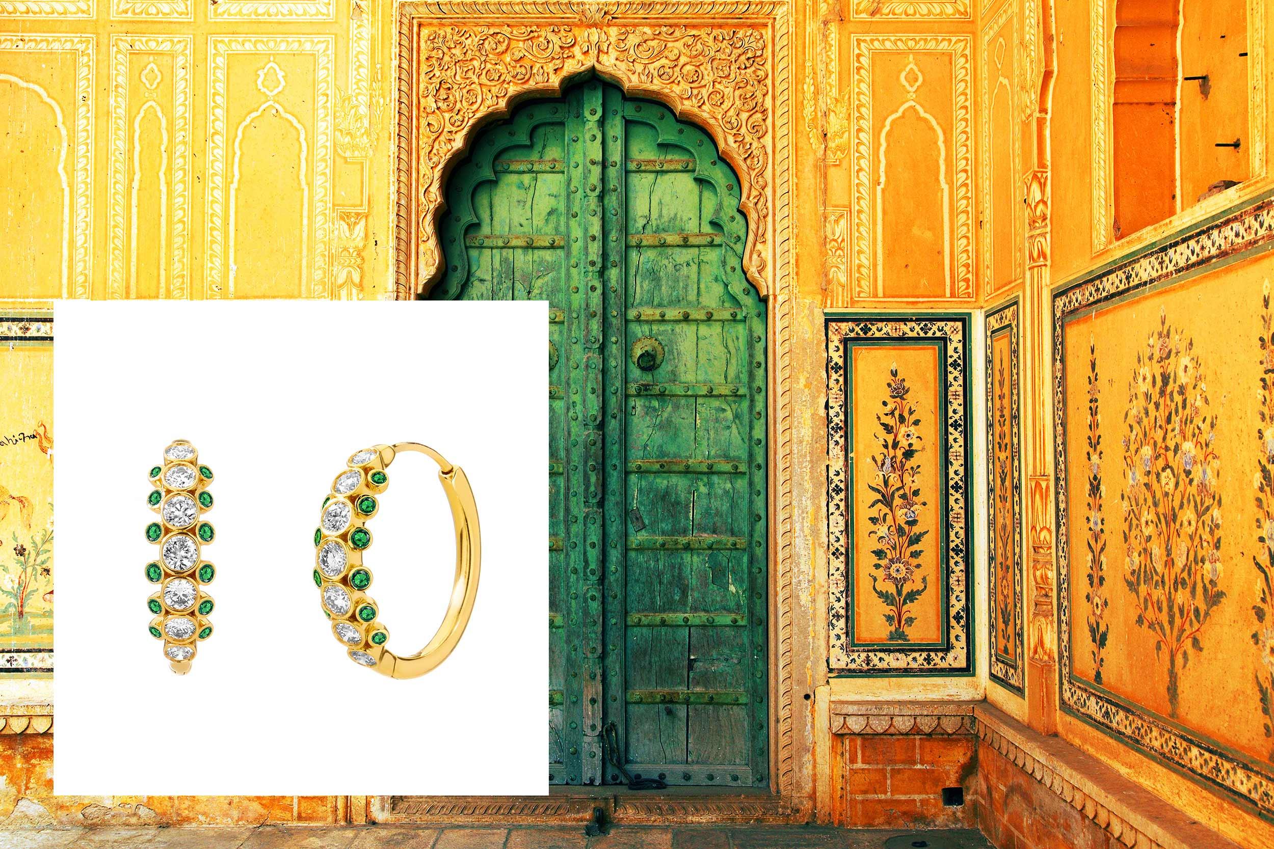 18kyg emerald & champagne diamond small hoop earrings