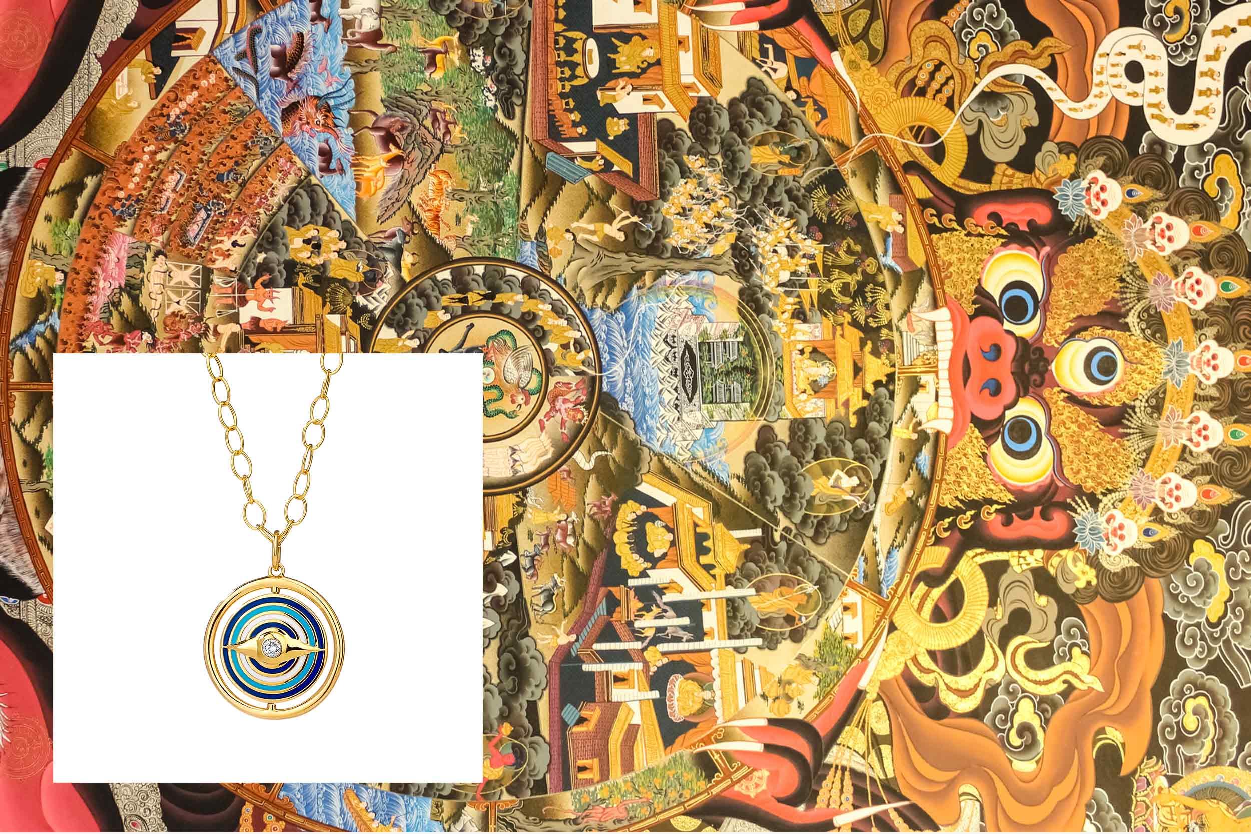 18kyg evil eye reversible pendant with champagne diamonds