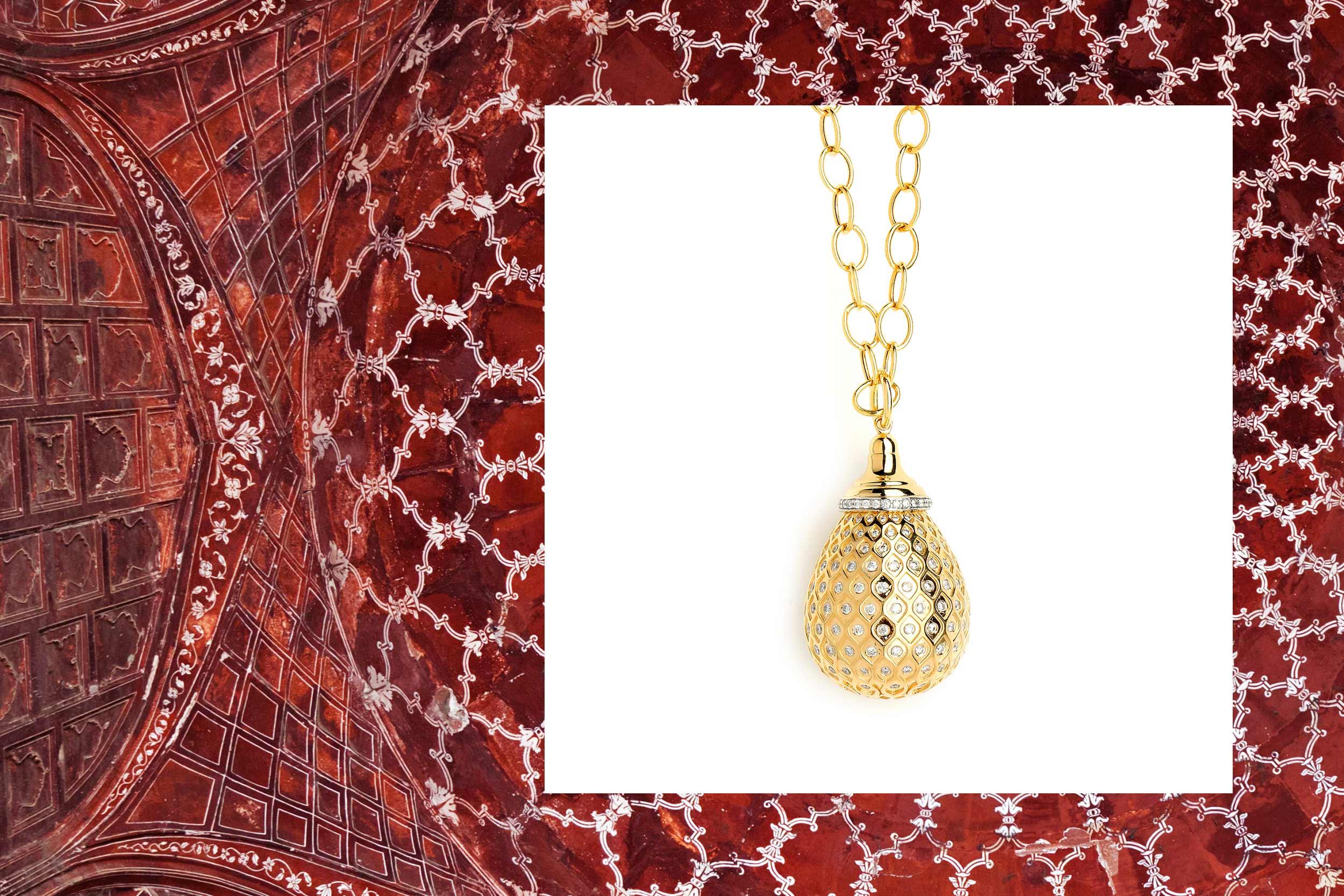 18kyg mogul drop necklace with champagne diamonds