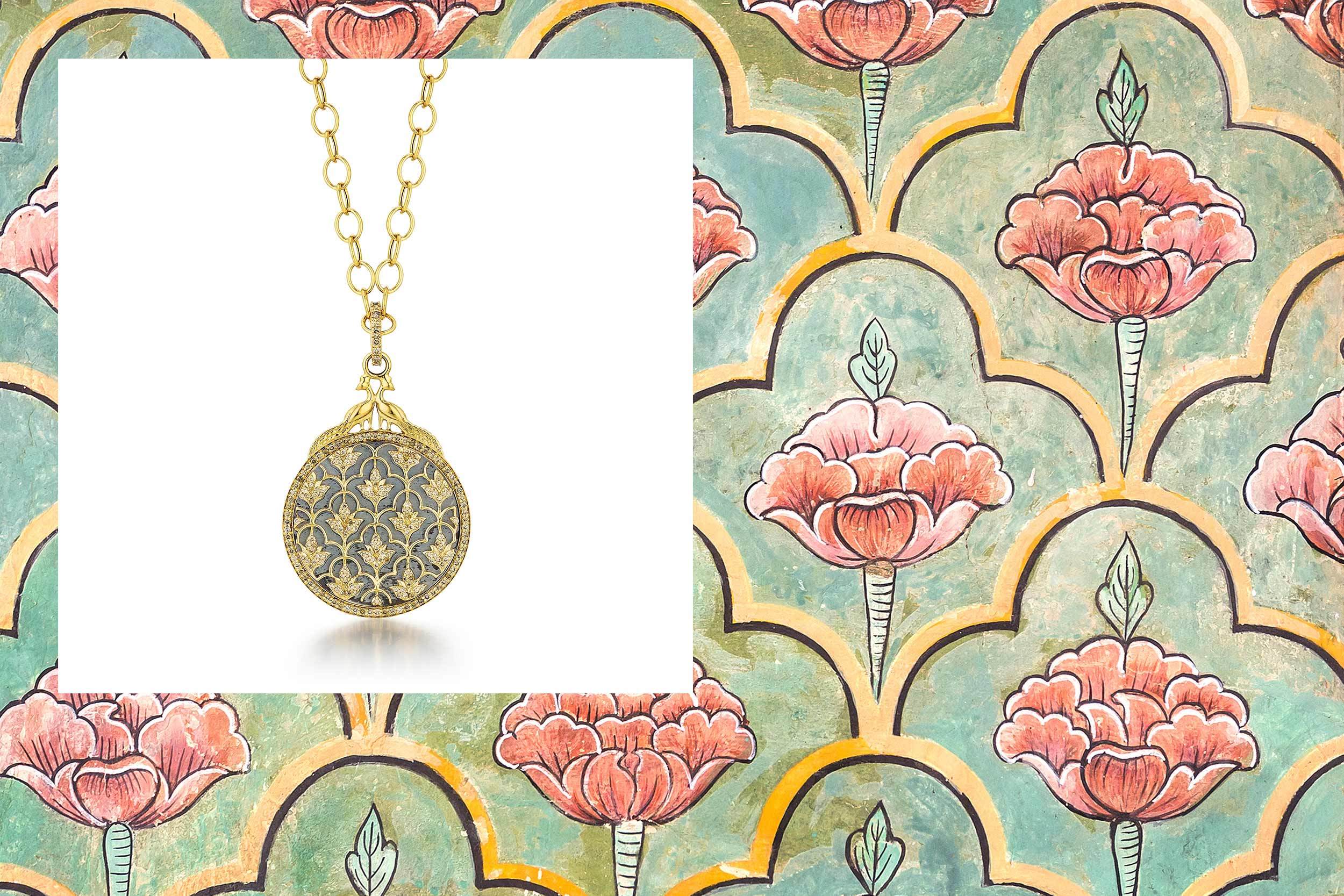 18kyg mogul peacock necklace with champagne diamonds