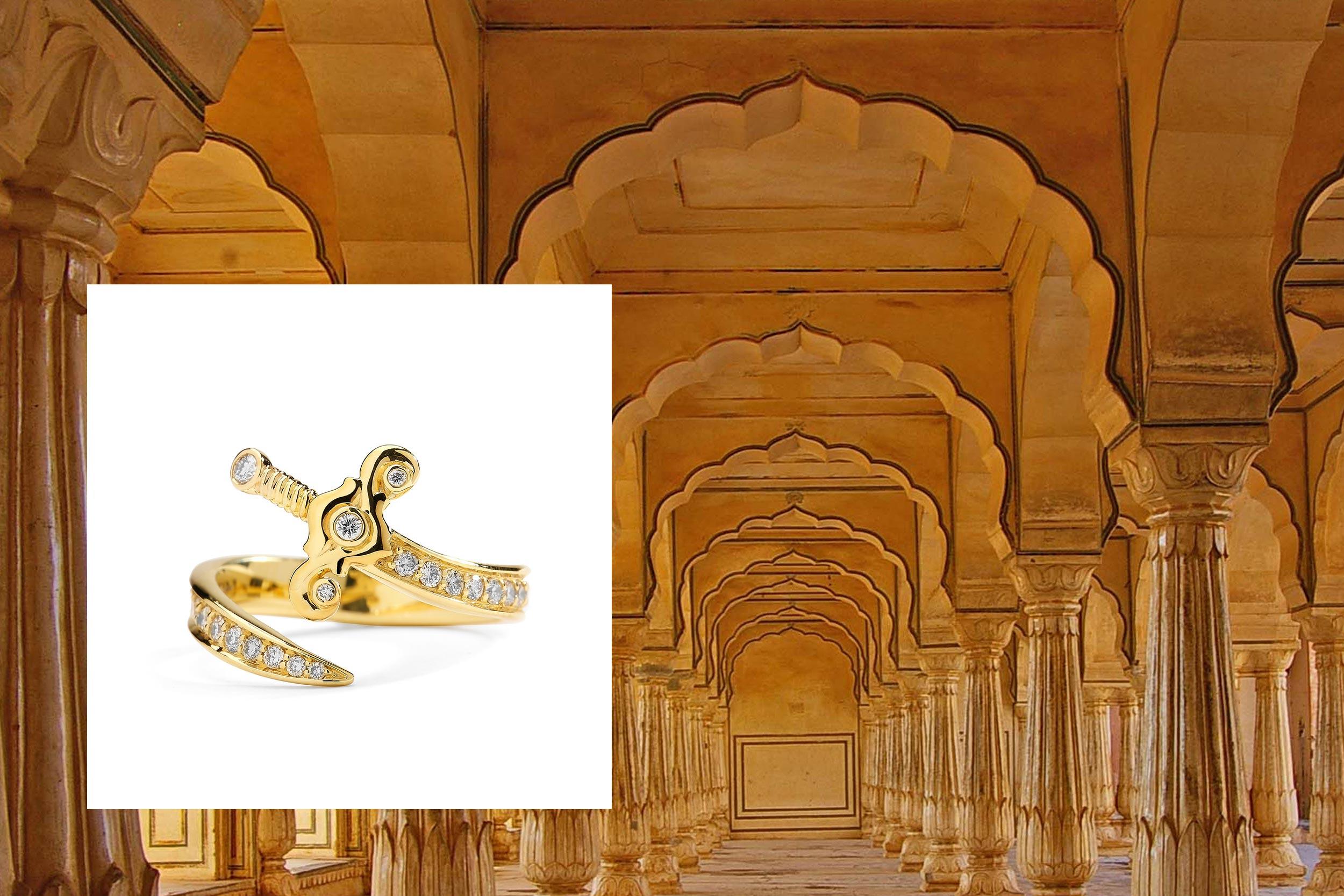 18kyg mogul sword ring with champagne diamonds
