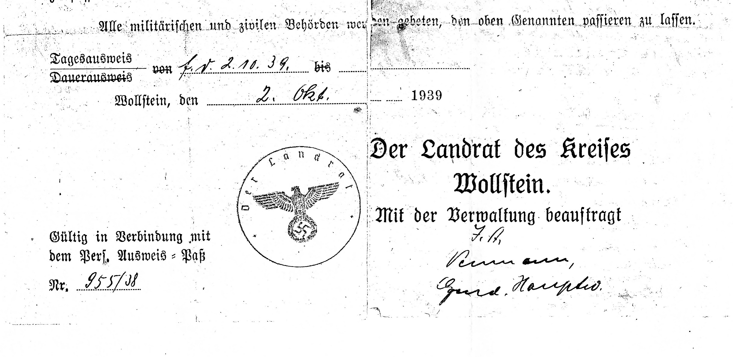 The Nazi document dated October 2, 1939, that notes Helen's capture.