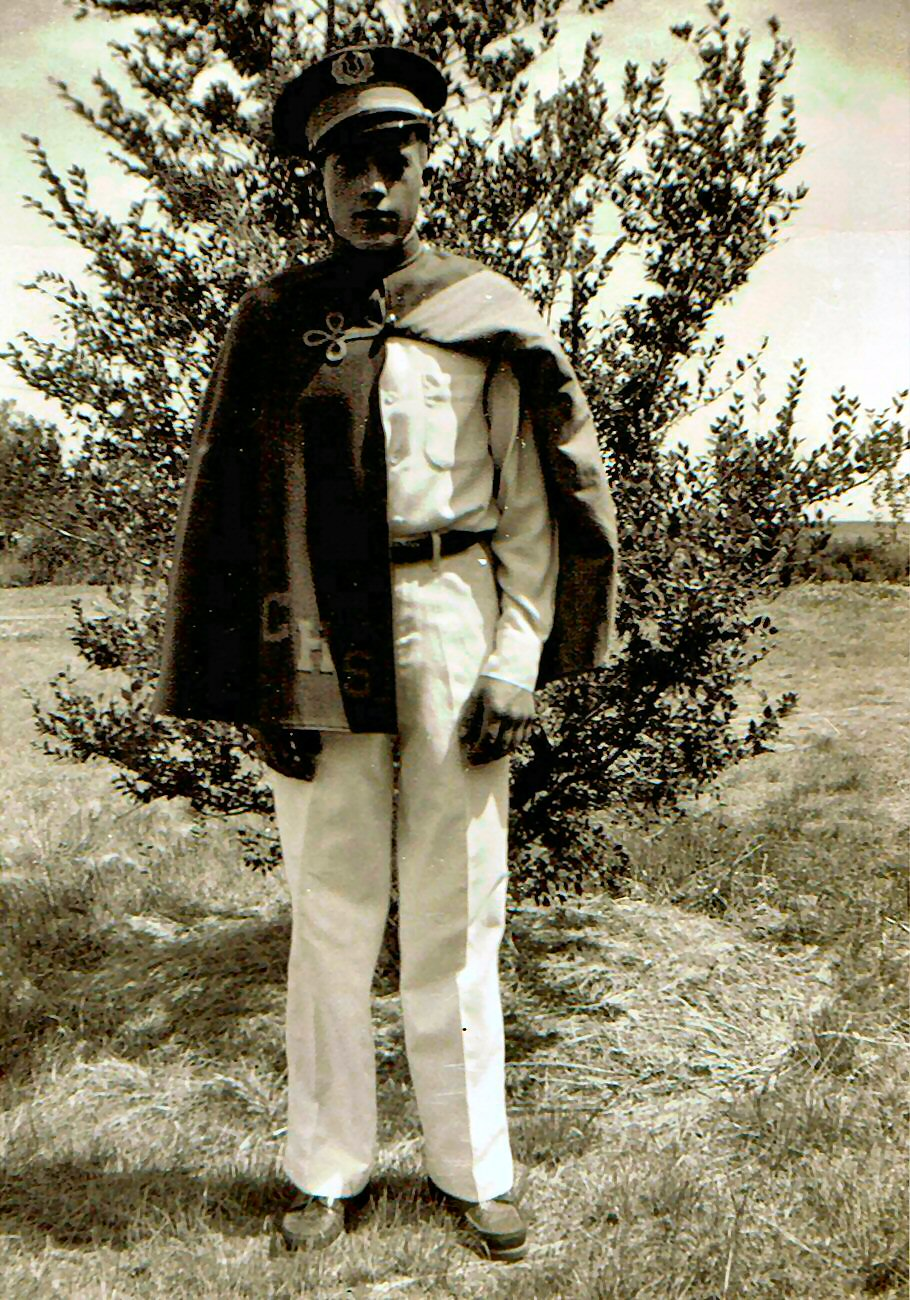 Les in his Columbus, North Dakota, high school band uniform