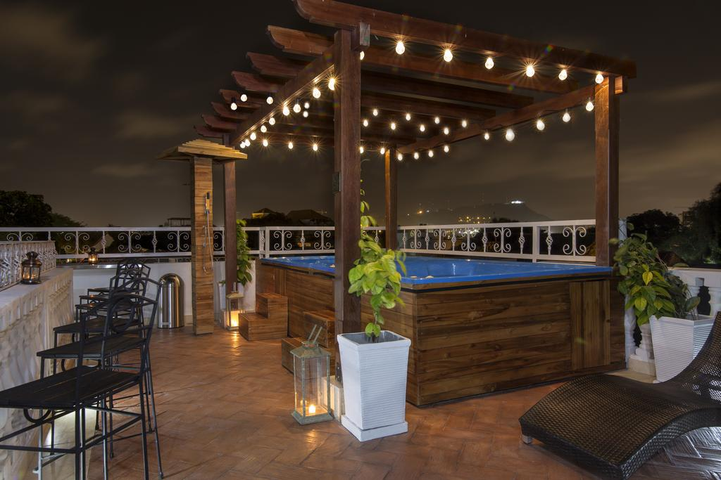 Enjoy a nighttime dip on the rooftop at Life is Good Hostel, Getsemani