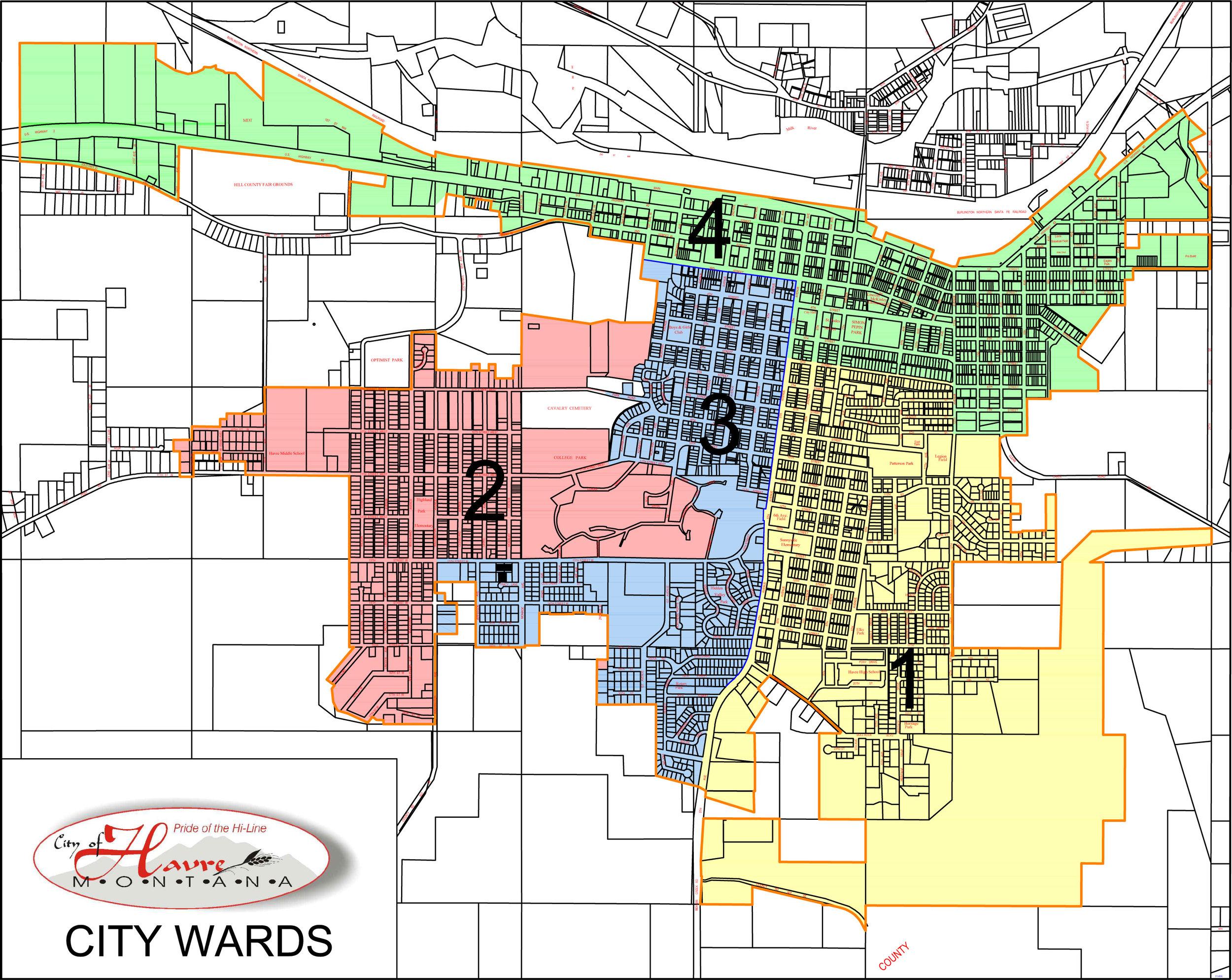 Yellow: Ward 1 (Pct 7, 8) Pink: Ward 2 (Pct 3, 13) Blue: Ward 3 (Pct 1, 9) Green: Ward 4 (Pct 2, 10)