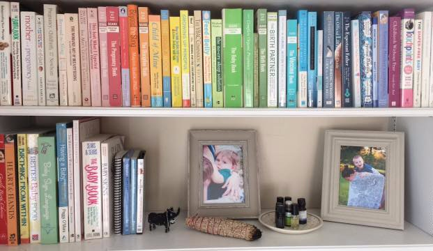 The lending Library is available to clients and features books on topics including pregnancy, birth and parenting.