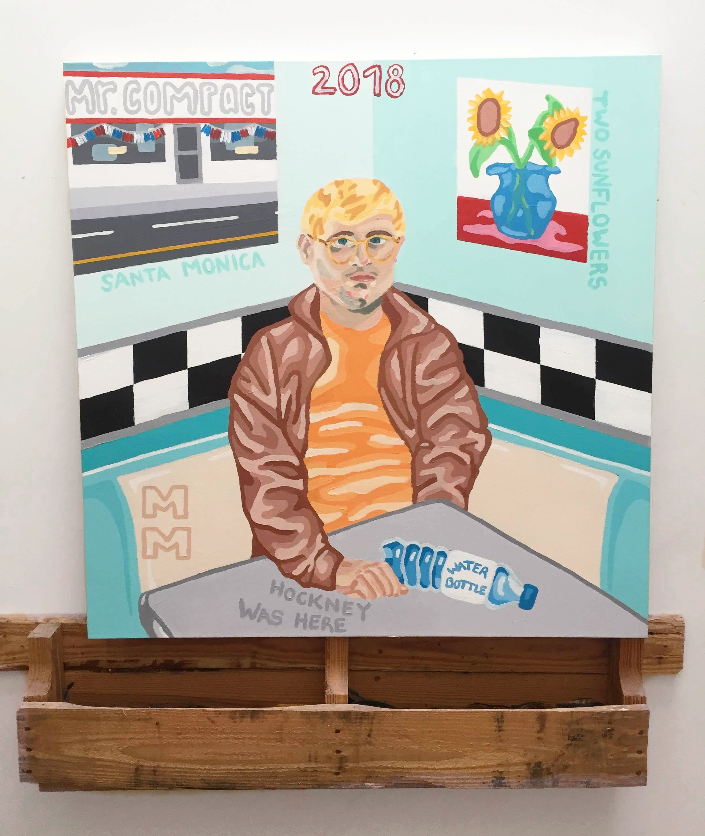 HOCKNEY WAS HERE ACRYLIC ON CANVAS 2018 3.5 X 3.5 FT