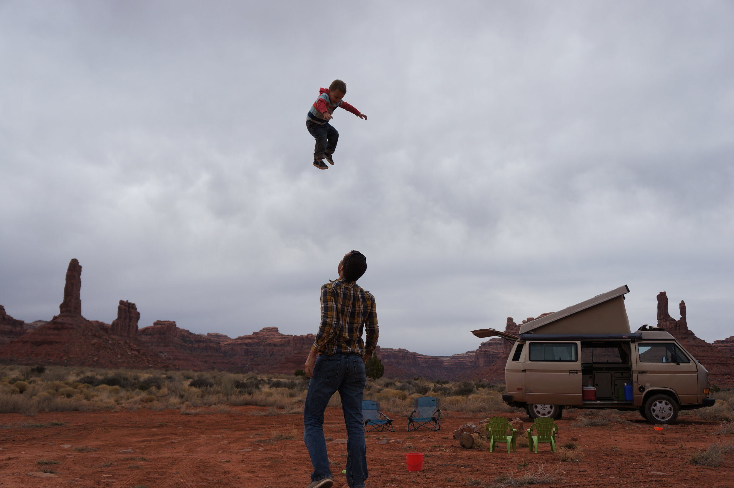 Toddler tossing - Valley of the Gods, Utah