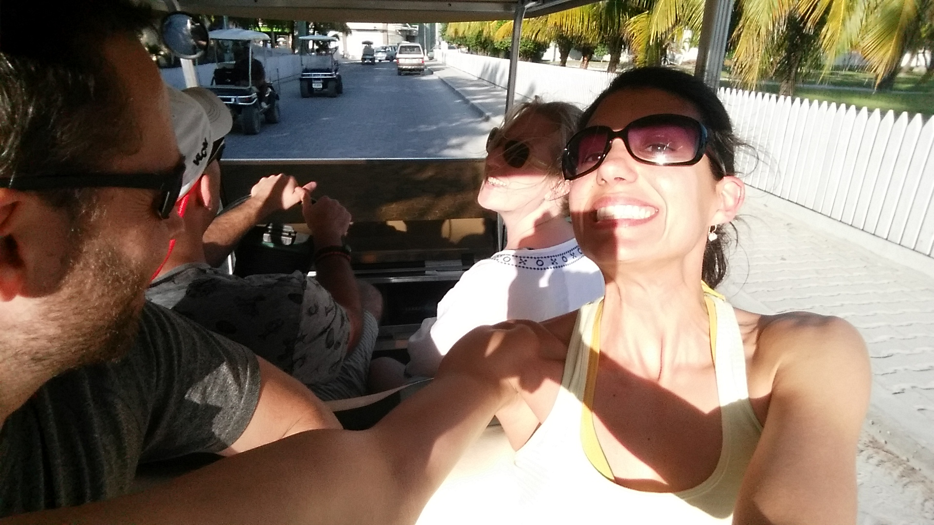 Most popular mode of transportation on the island was by golf cart.