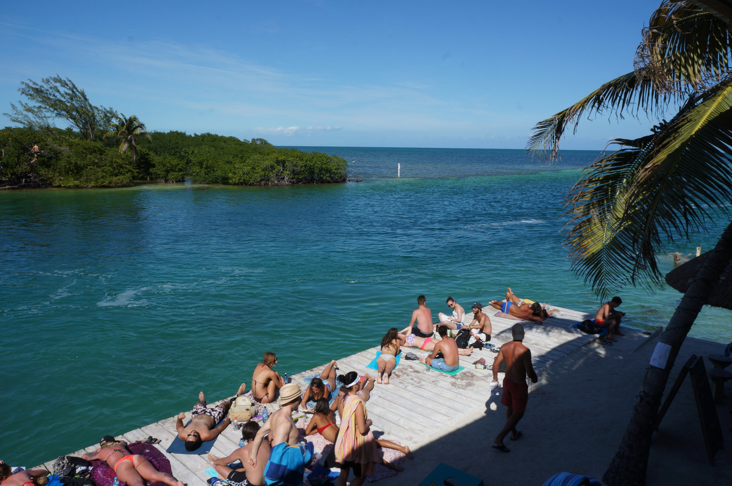 Sunning on the Lazy Lizard deck with views of the Split