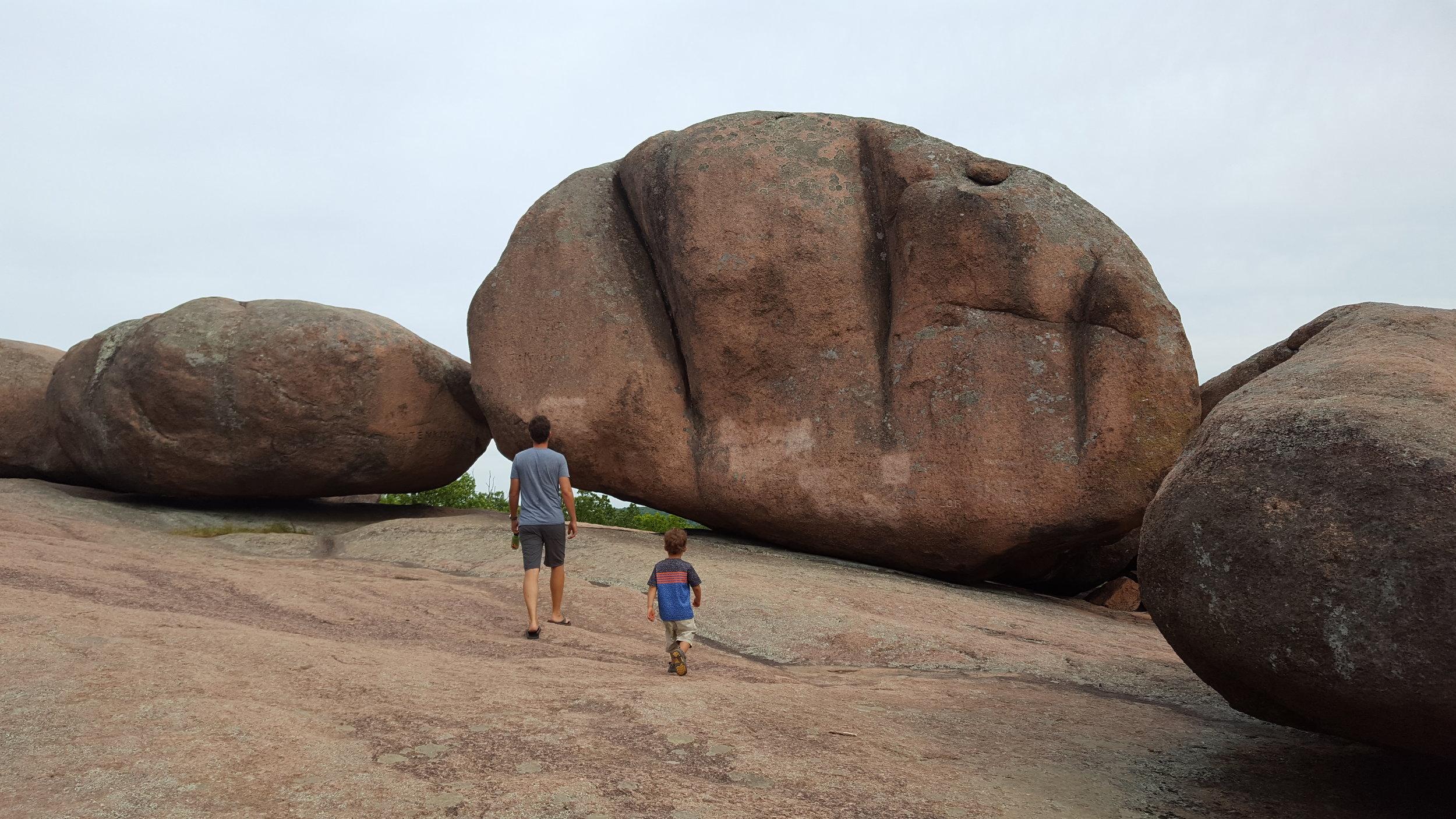 Elephant Rocks State Park in Missouri -After a nice twenty minute hike we located the behemoth rocks!