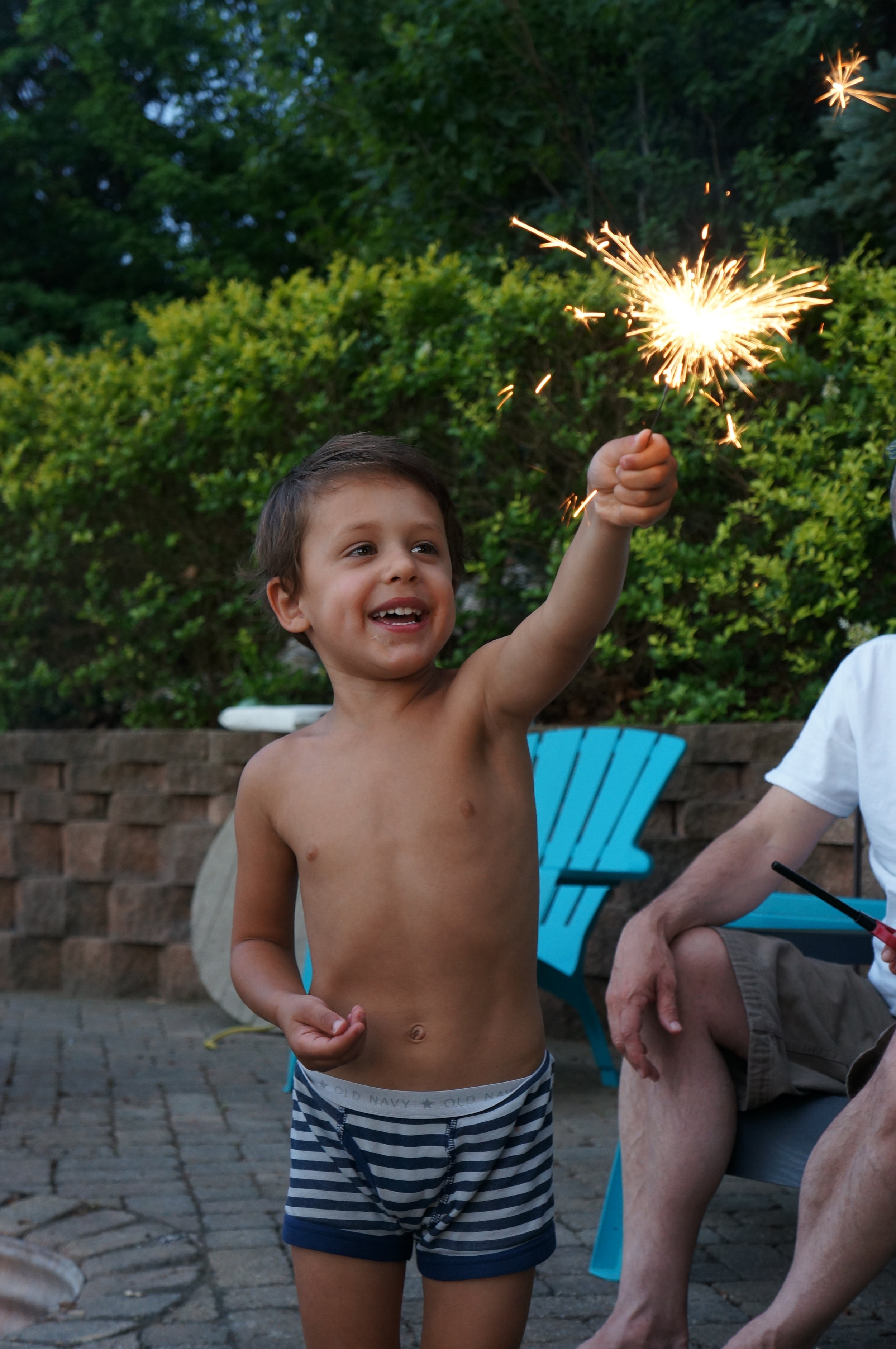 Bennett enjoying our 4th of July sparklers in undies. Classic.
