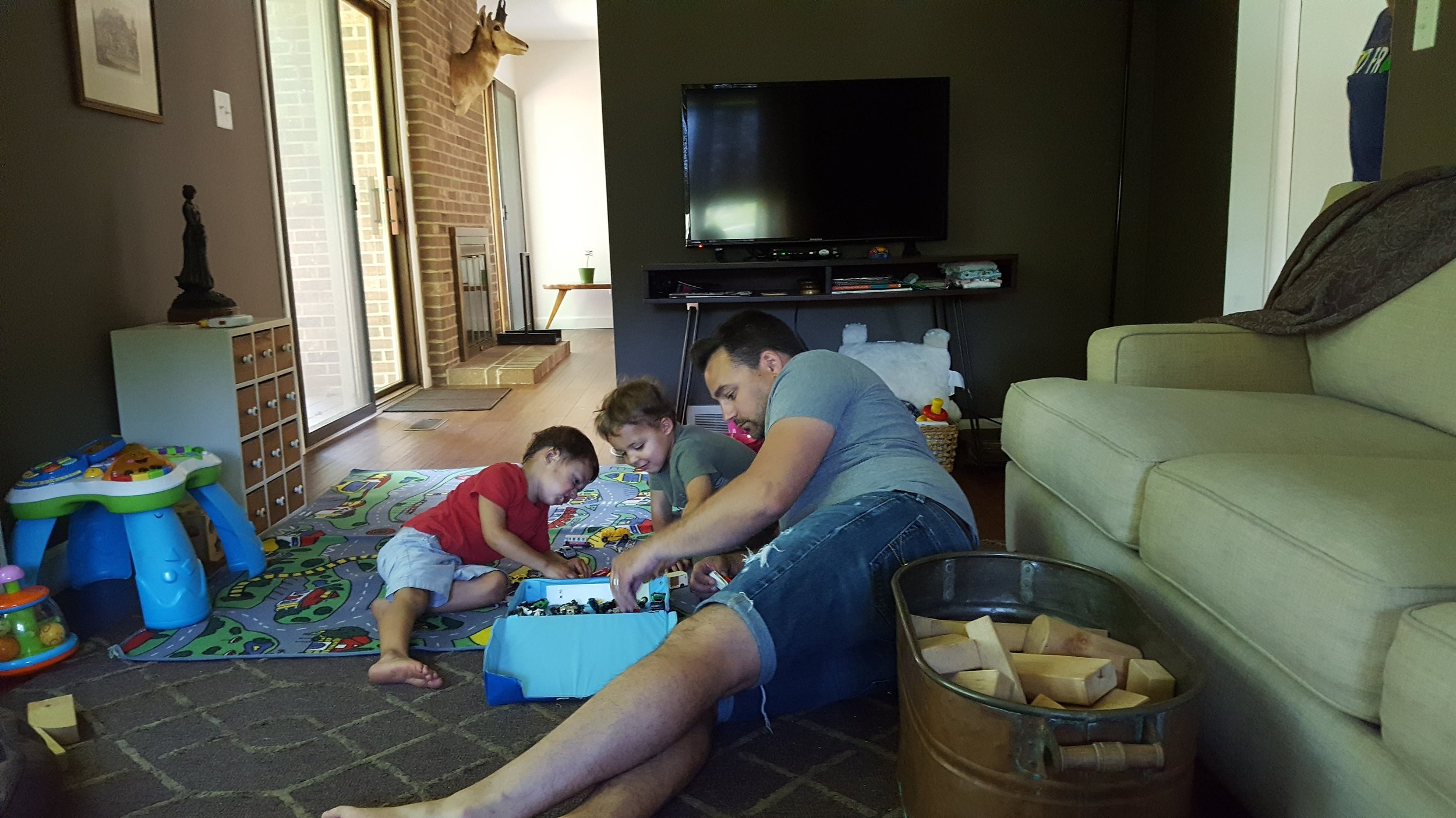 Playing cars with B-Bop (aka uncle Chris).