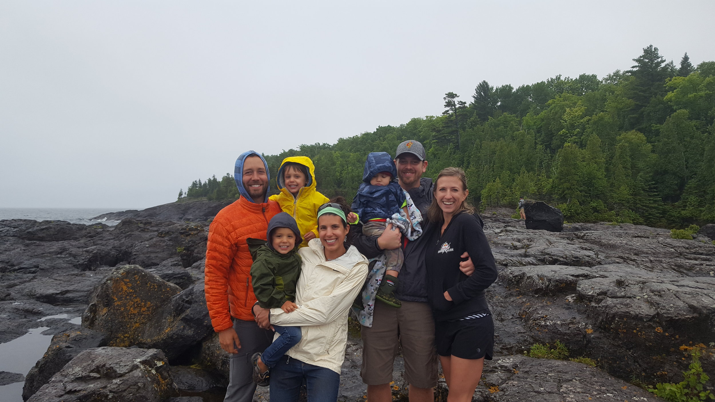 This amazing family (The Armours), who we haven't seen in 10 years, invited us to their home and showed us around the U.P. of Michigan. Wow, it's beautiful, even on a rainy, 55-degree day. Thank you Jamie for making us look like total wusses with the shorts while we're in down jackets.