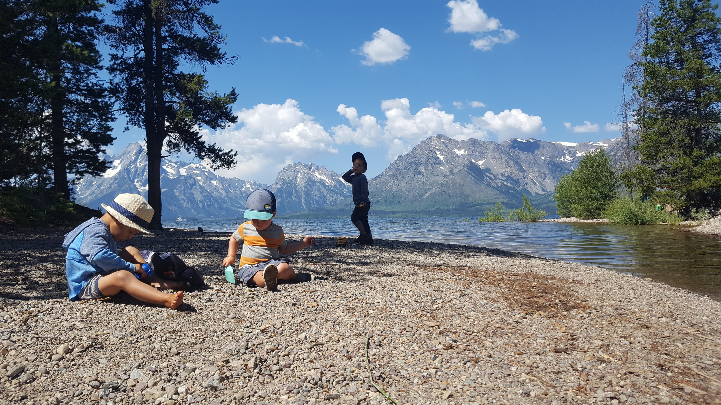 Just like the good ol' days, back at the beach with Leo. Colter Bay Campground.