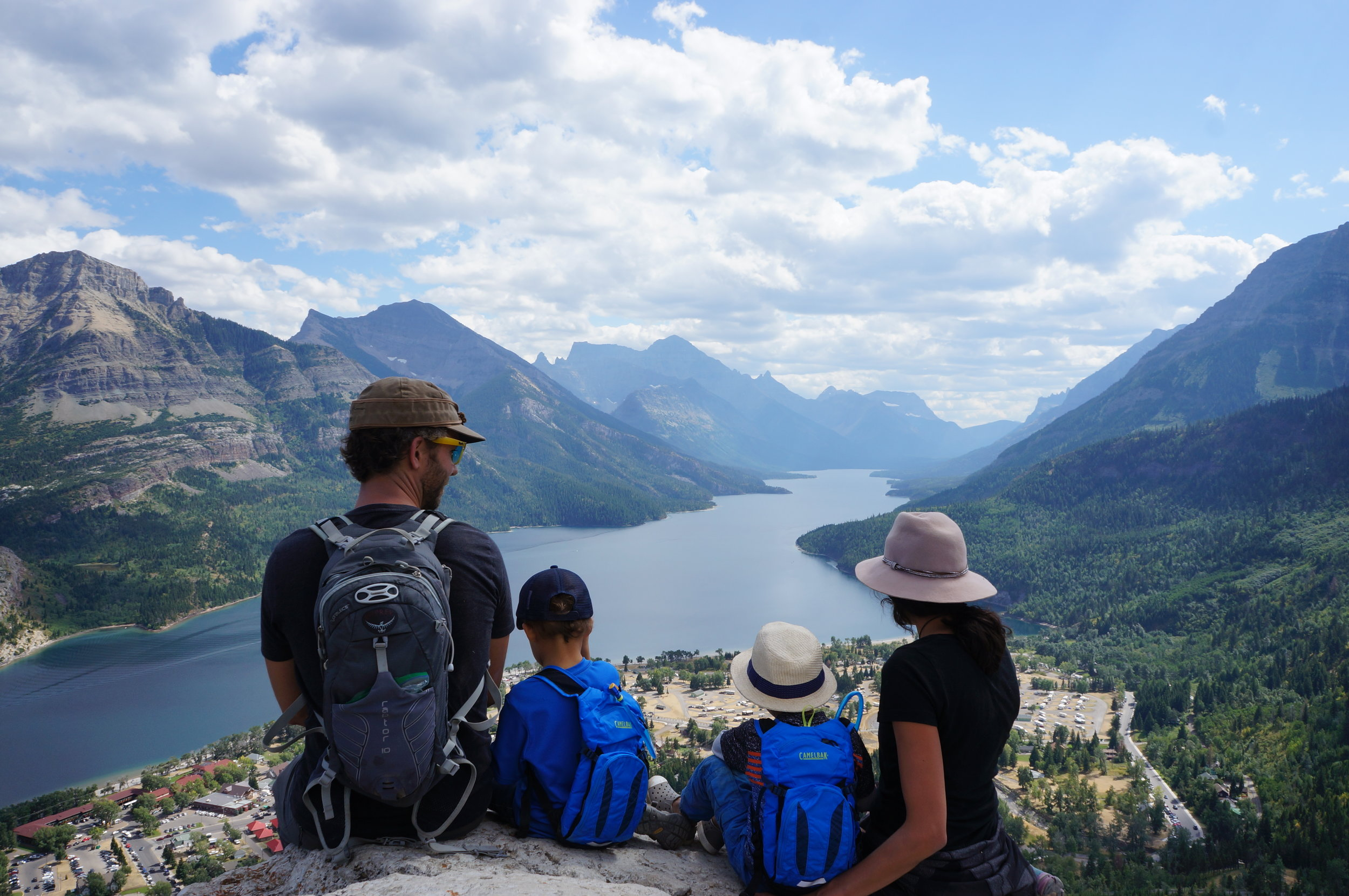 View of Waterton Lake from the top (the small town below).