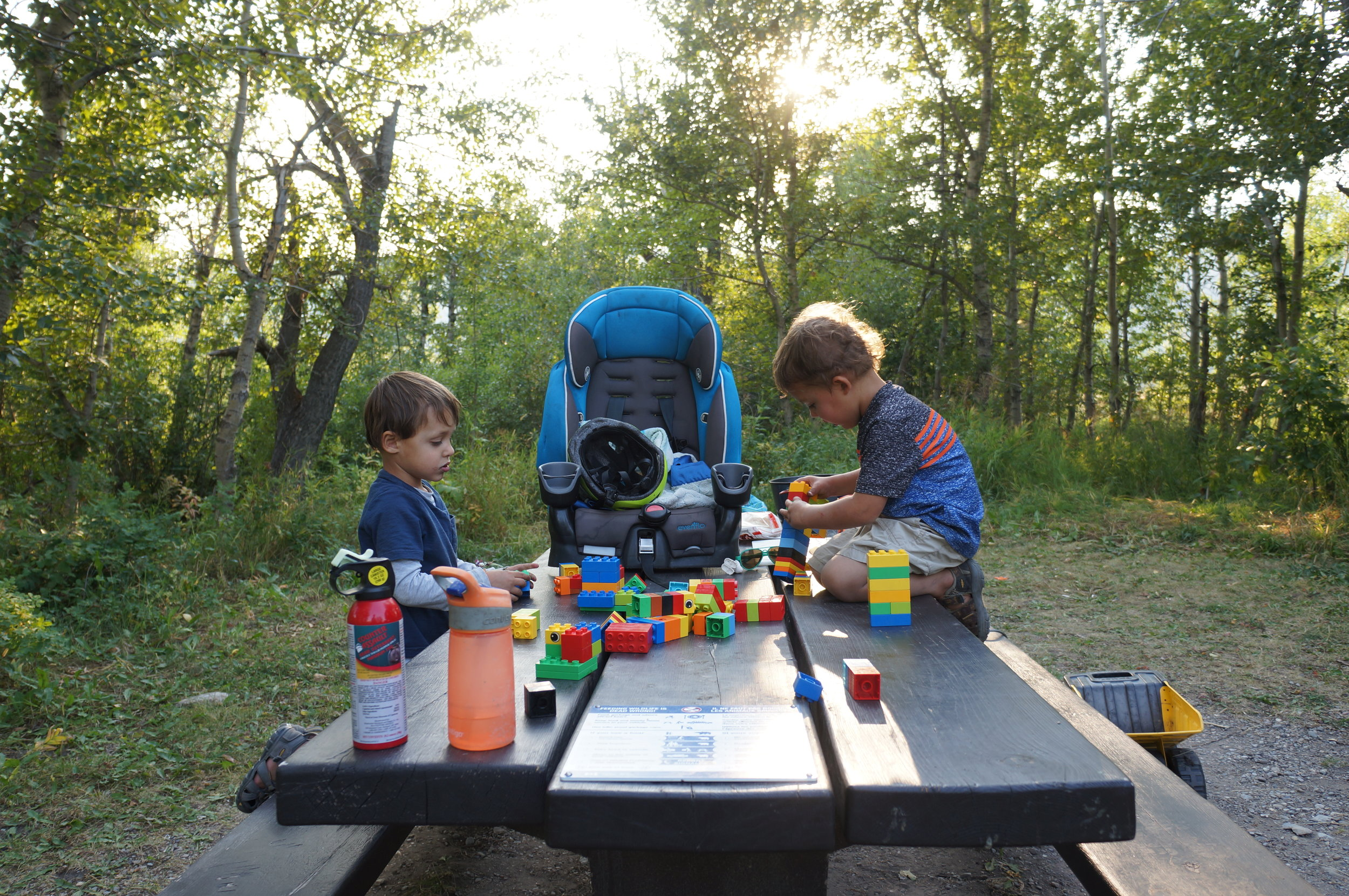 """Campsite lego-building (that they call the """"lego station."""")"""