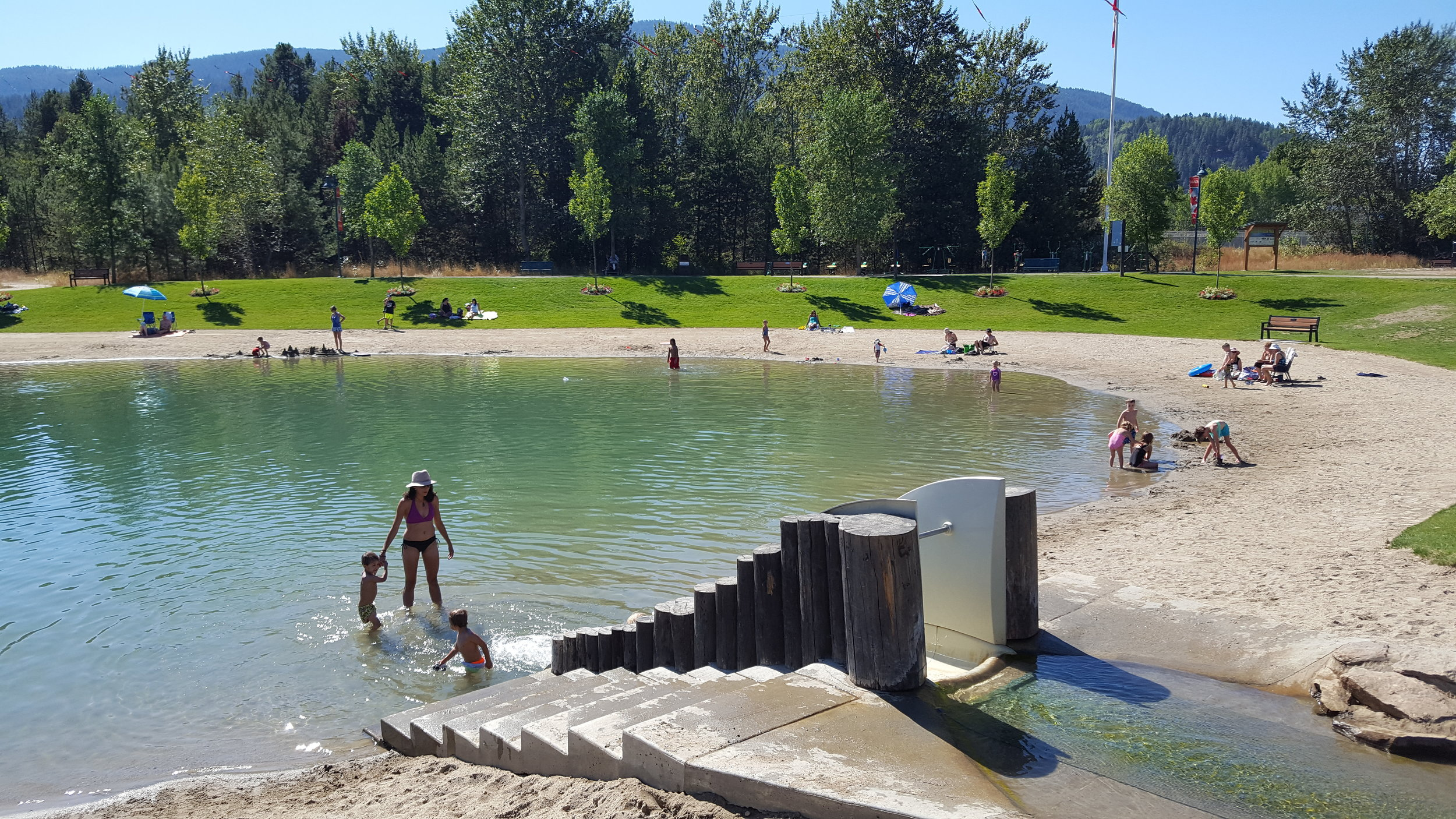Dude, they divert some of the river to create swimming ponds which are connected by slides. (See video to the right) Durango, take note.