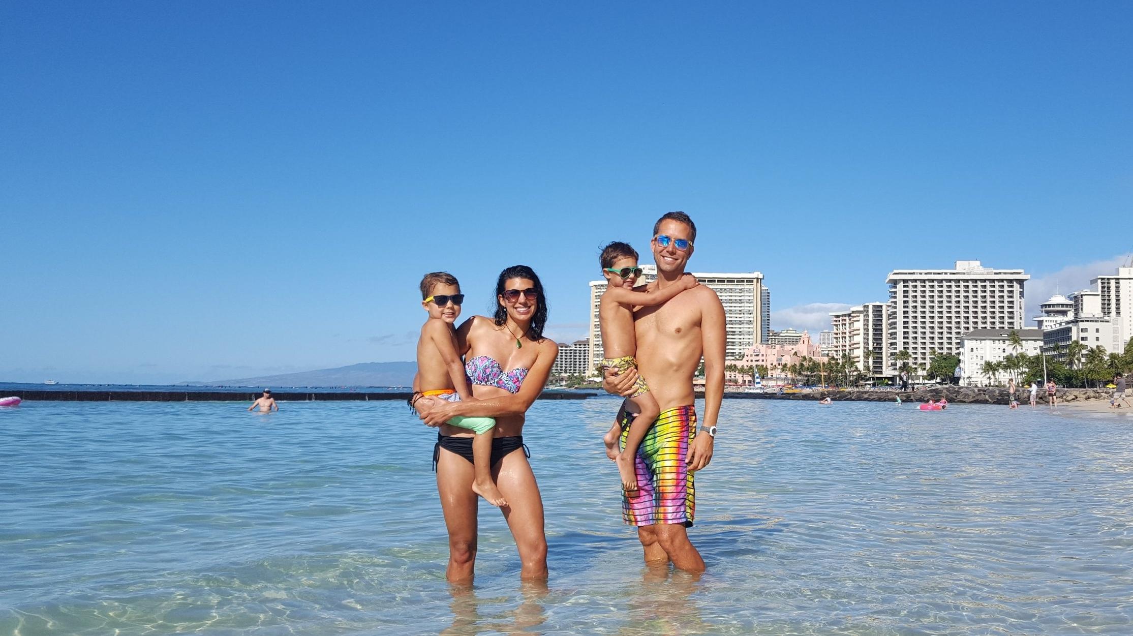 Waikiki Beach - Reid, Lindsay, Bennett, and Chip