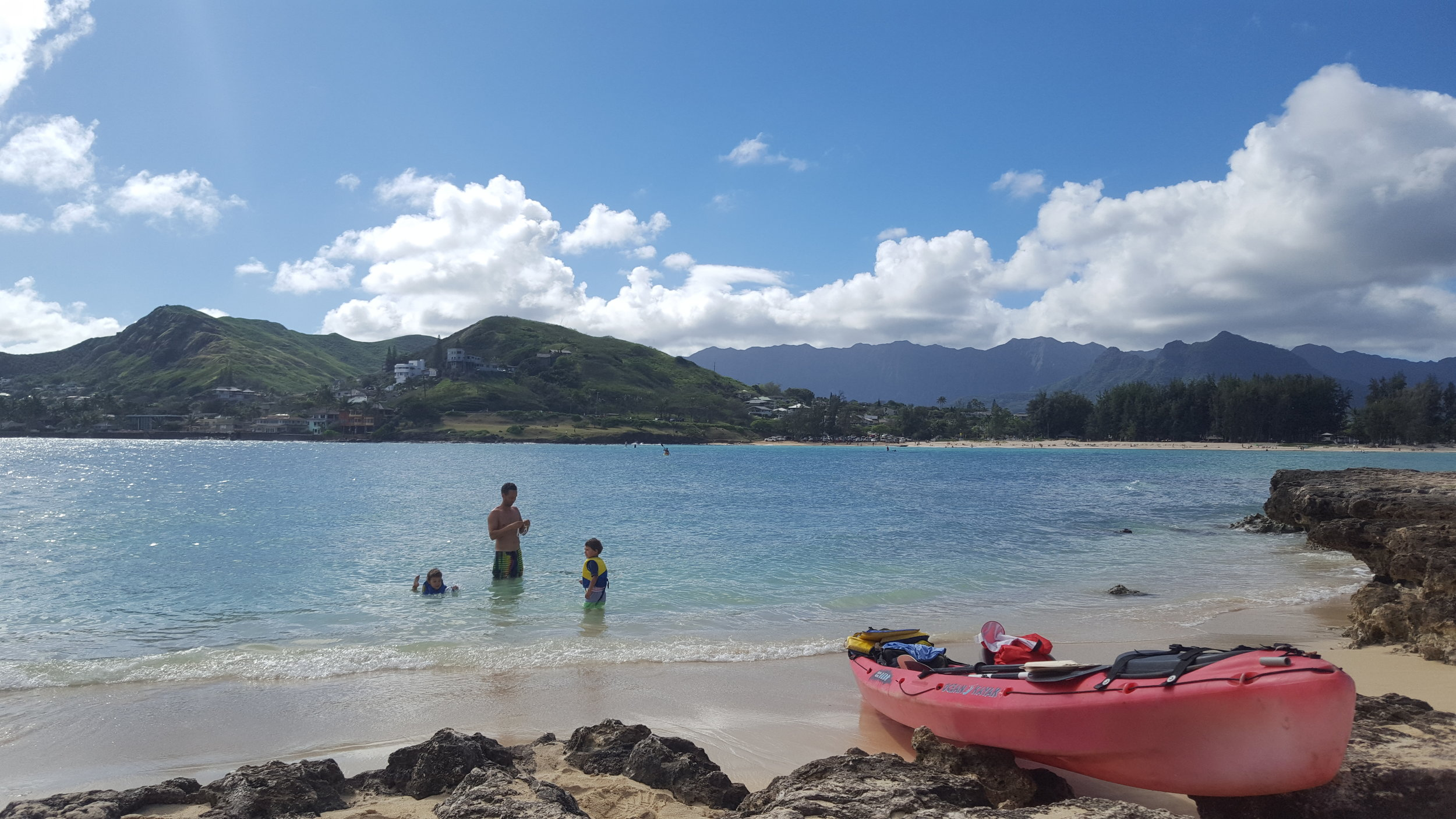 Heading out for a swim (you can see Kailua beach in the distance. This is where we started).