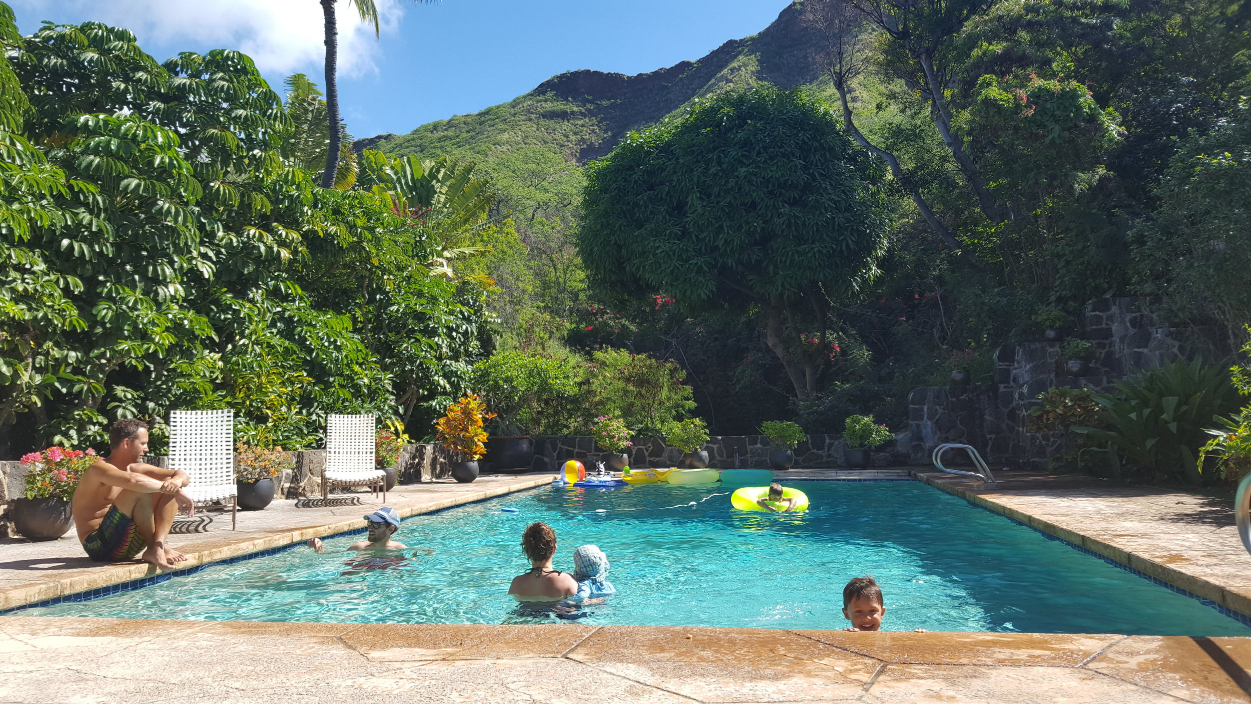 A visit to see Jesse, Michelle, and family at a friend's family house on the side of Diamond Head. Complete with views, a pool, and lots of space to run around.