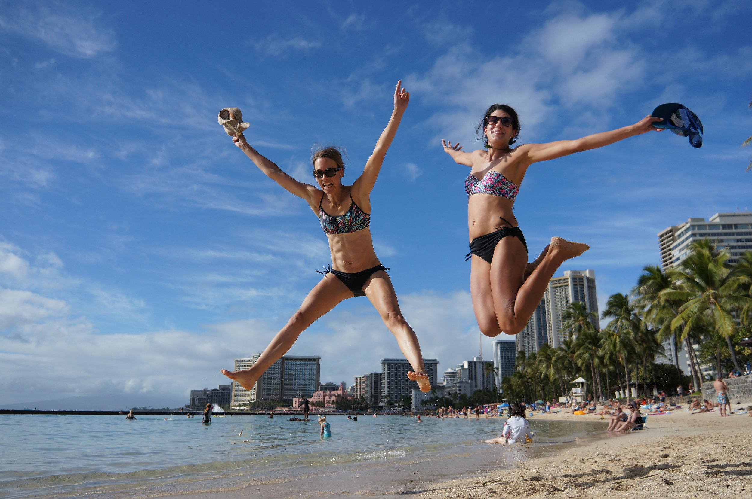 Some pretty amazing jump shots took place in Hawaii. This one make me giggle. With Rach, from New Zealand.