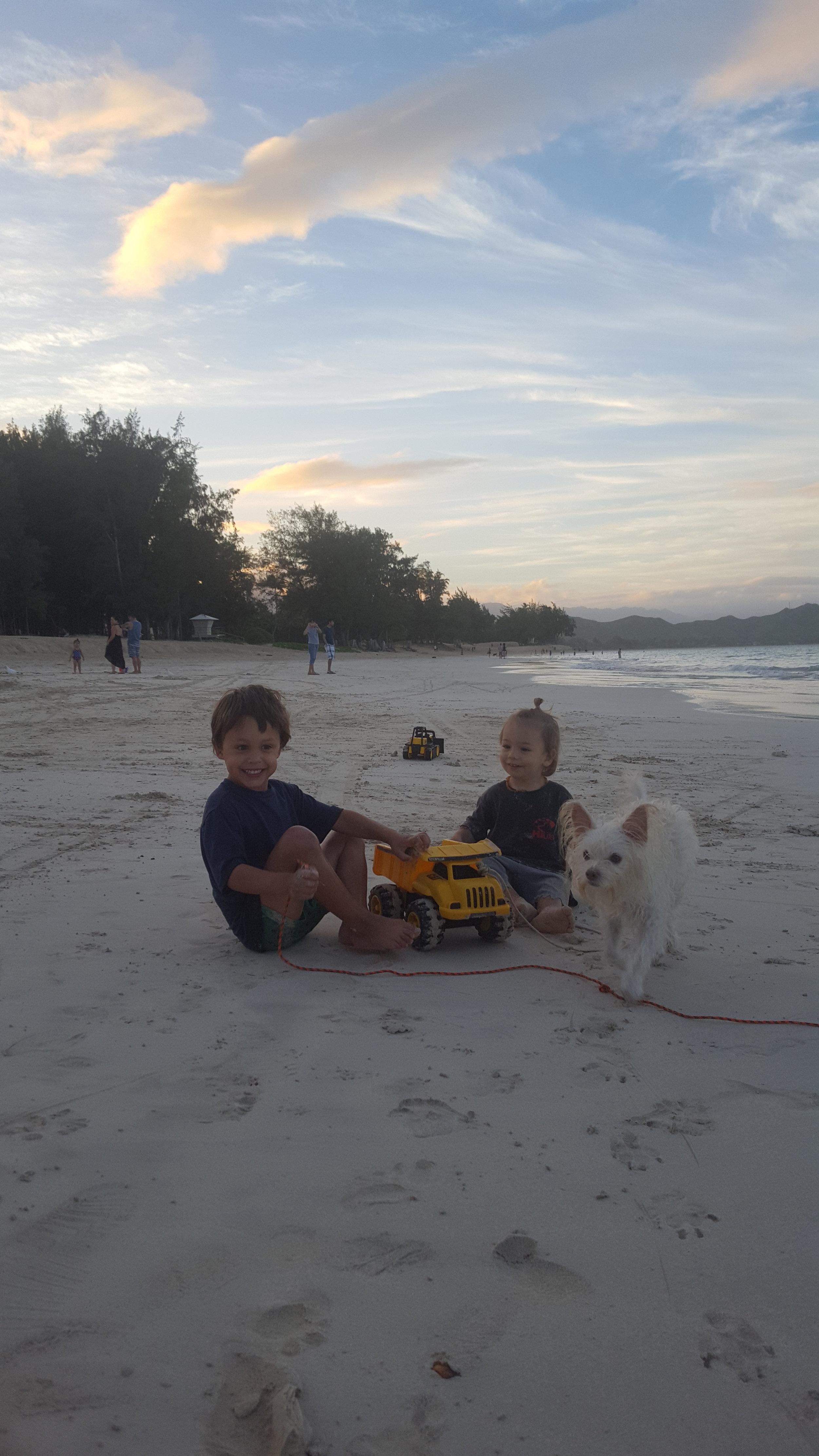 Bennett, Elijah, and Critter the dog.