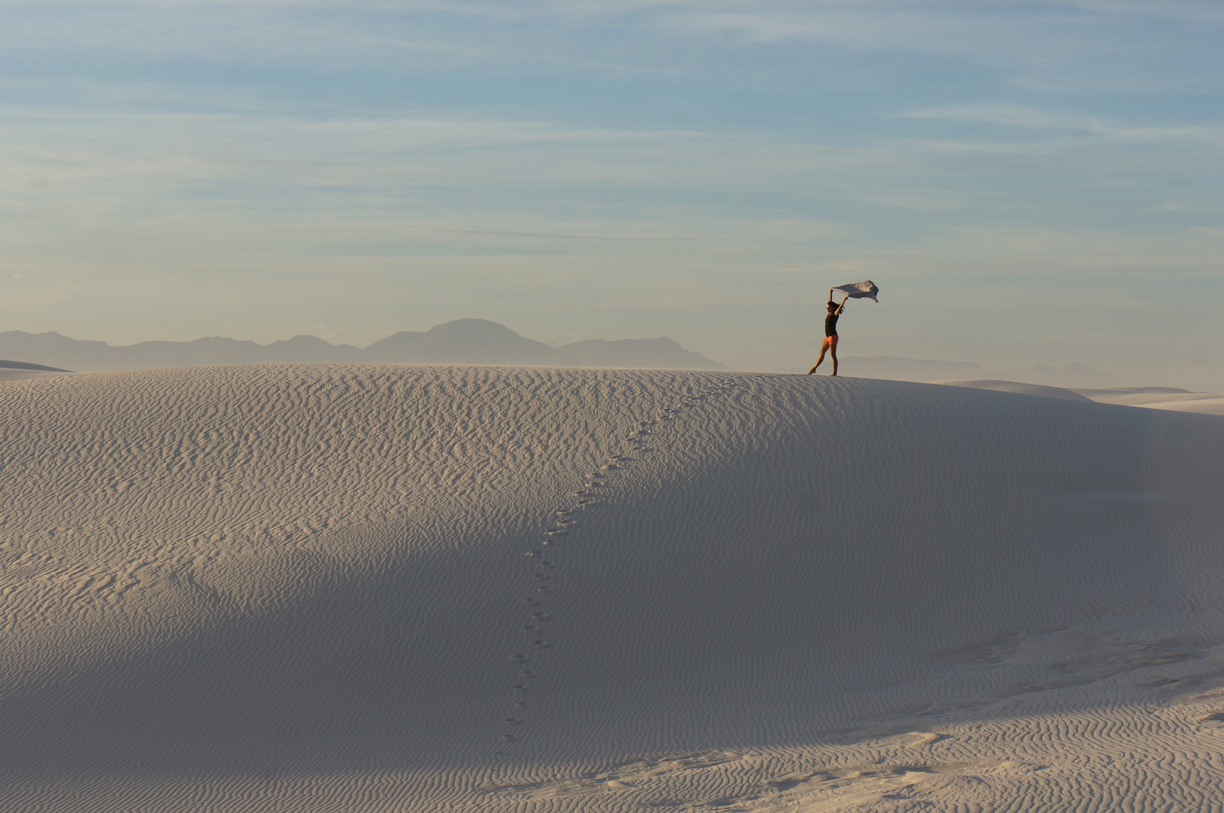 Soaking in all the views (and wind) that White Sands National Monument has to offer.
