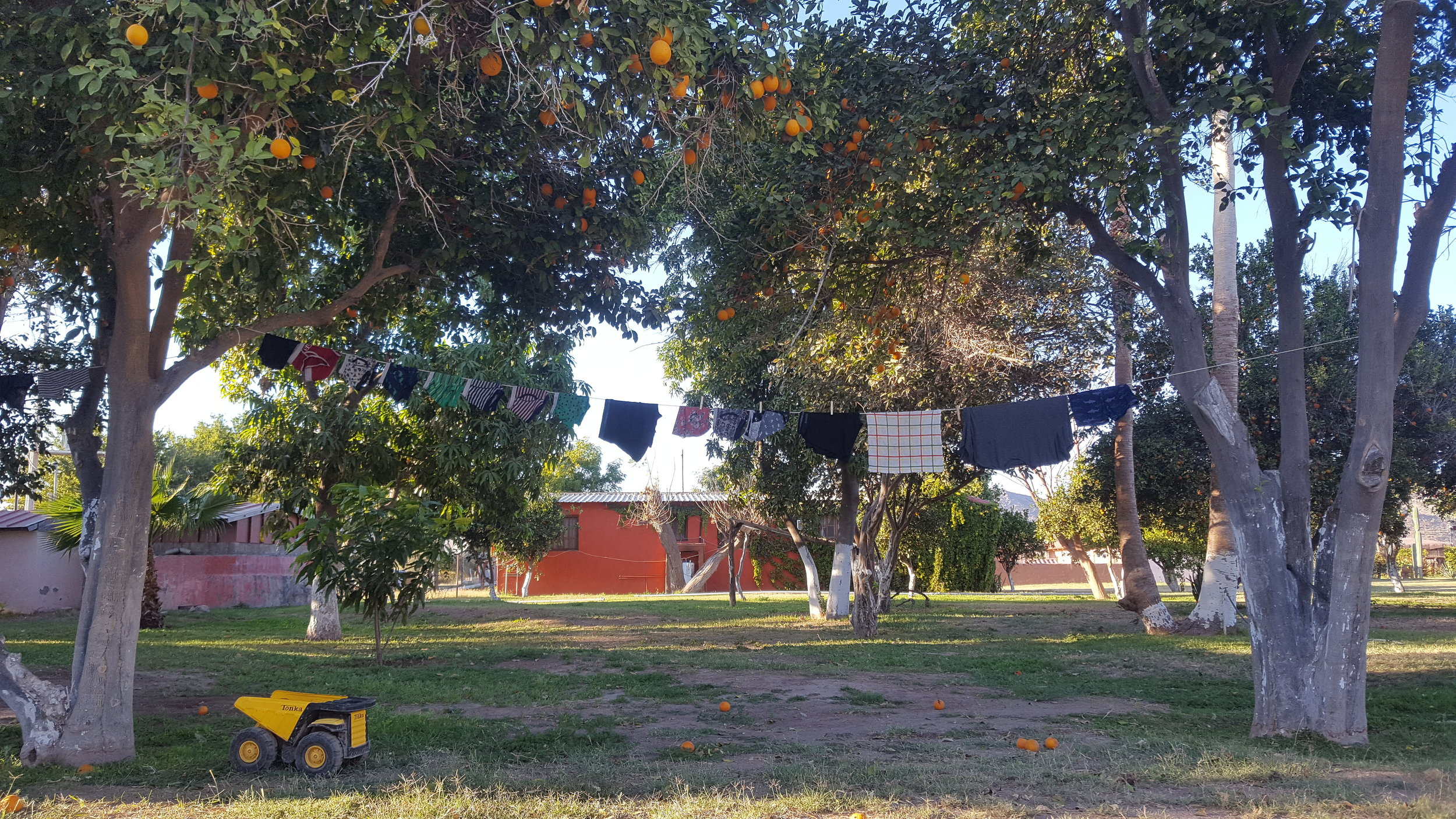 Laundry hung between trees...the simple life.